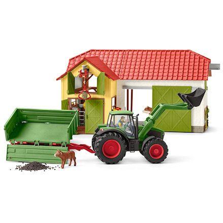 Schleich Tractor next to barn
